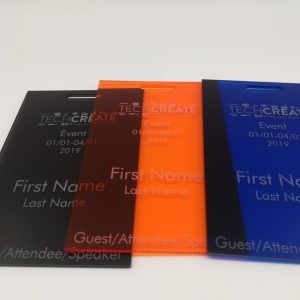acrylic engraved event badge